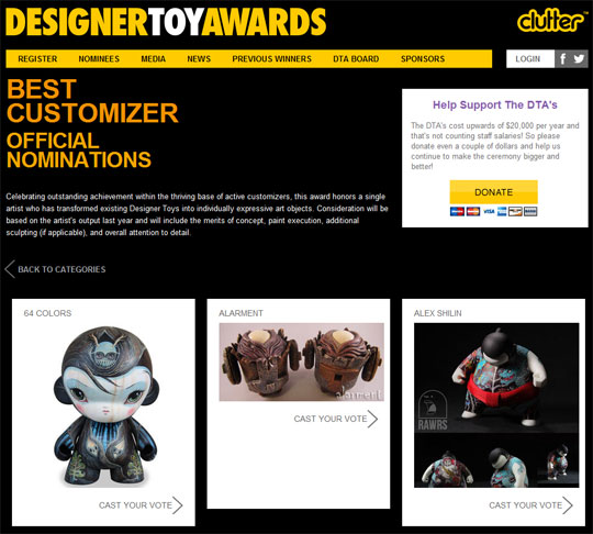 alarment clutter magazine designer toy awards best customizer
