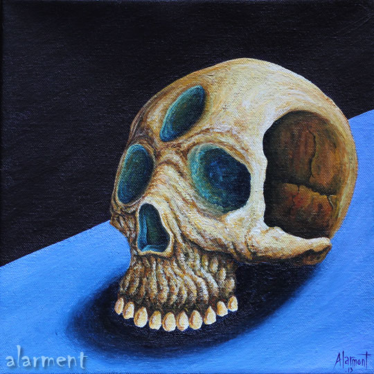 III skull alarment acrylic painting