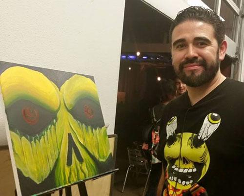 Allan Armenta Art Fight alarment painting